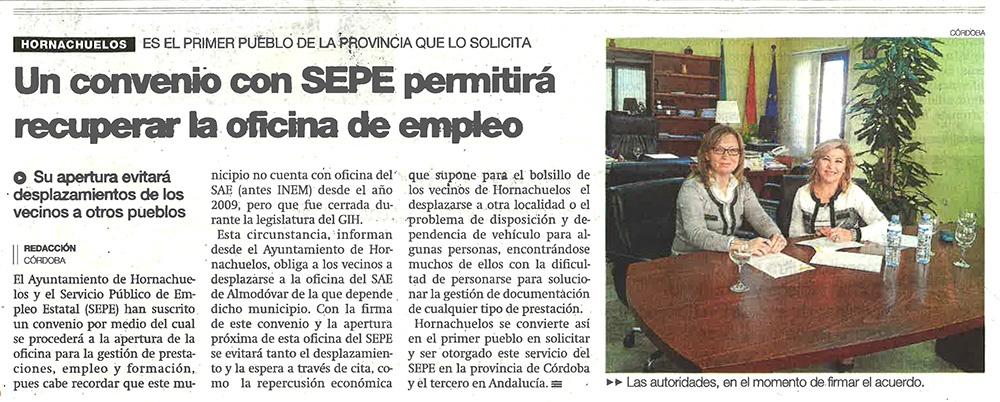 Hornachuelos convenio con sepe permitir recuperar la for Oficina de empleo andalucia