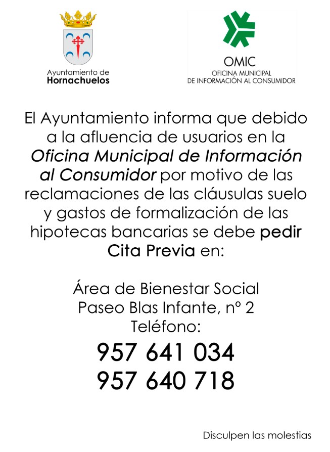 Hornachuelos cita previa para acudir a la oficina for Telefono oficina del consumidor